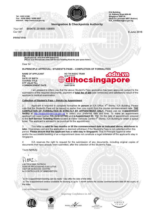 Chúc mừng bạn Hồ Thị Ngọc Trâm đã đạt được visa du học Singapore. Chúc bạn thành công trên chặng đường sắp tới.