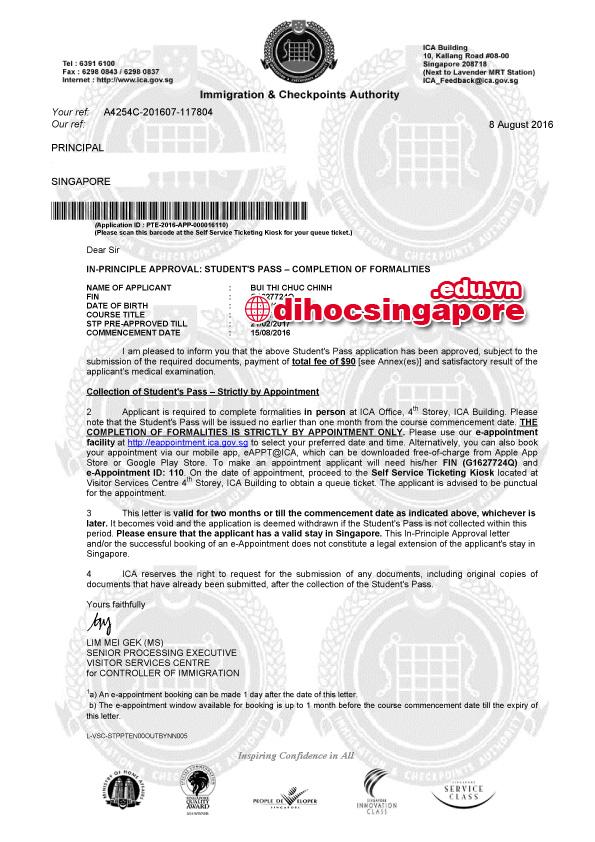 Chúc mừng Bạn Chúc Chinh đạt visa du học Singapore cùng du học VPEdu