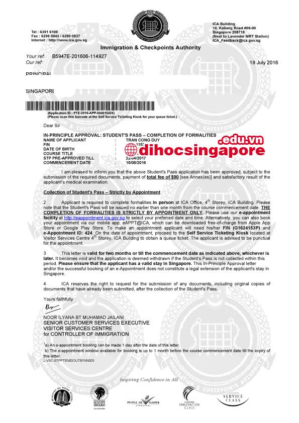Chúc mừng Công Duy đạt visa du học Singapore cùng chuyên viên tư vấn du học Việt Phương