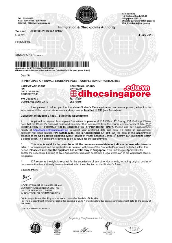 Chúc mừng Nguyễn Như Hoàng đạt visa du học Singapore cùng chuyên viên tư vấn Du học Việt Phương
