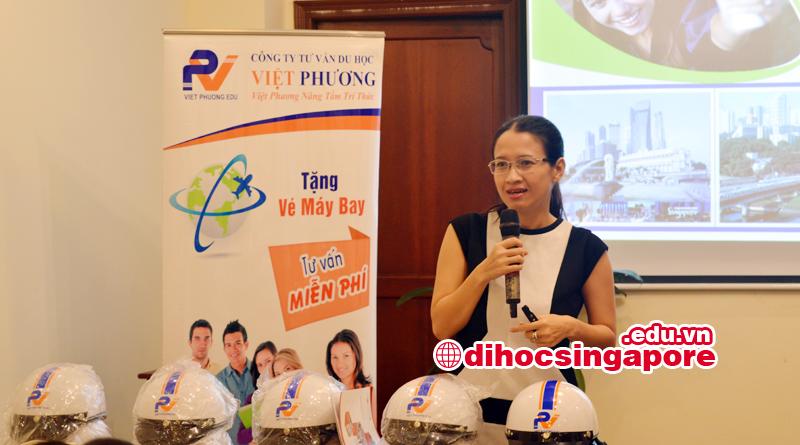 Ms Thanh Tâm đại diện trường Quốc tế Dimensions giới thiệu về du học Singapore tại Dimensions