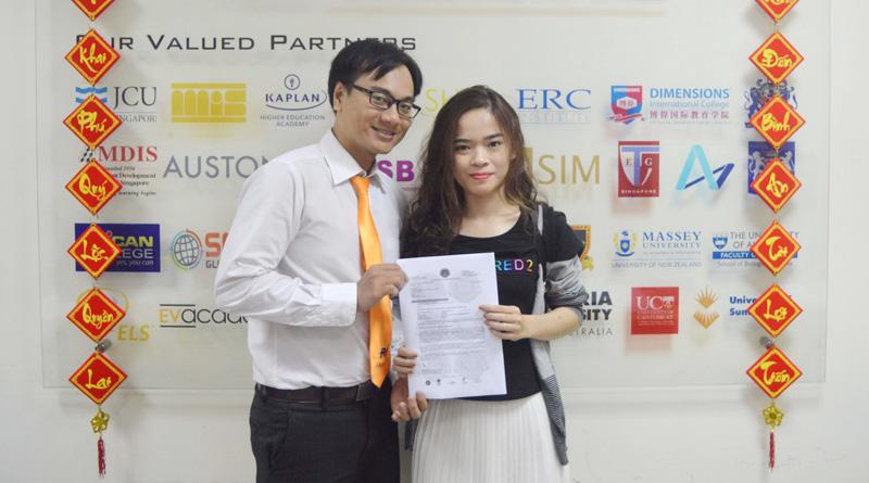 Chúc mừng bạn Mỹ Hòa đạt visa du học Singapore cùng chuyên viên tư vấn Du học Việt Phương