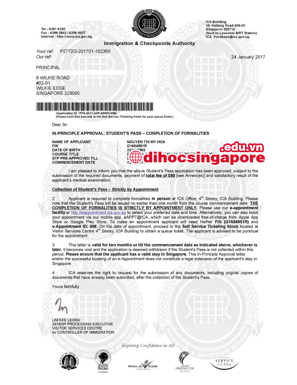 Chúc mừng Mỹ Hòa đạt visa du học Singapore