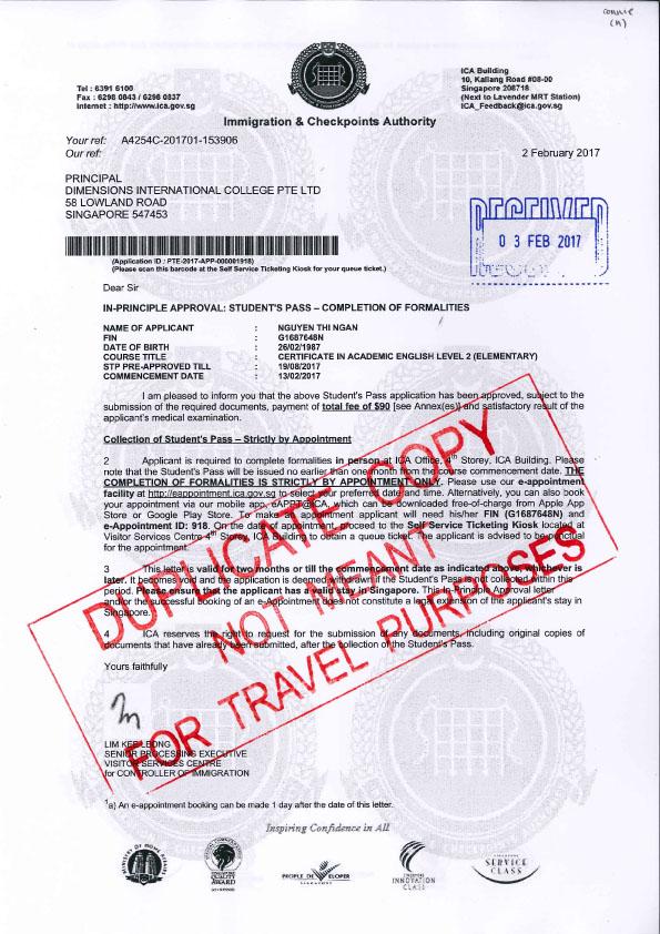 Visa du học Singapore sinh viên Nguyễn Thị Ngân