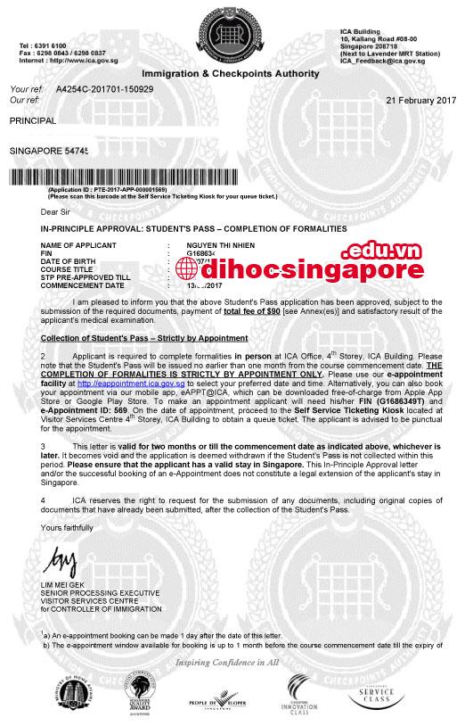 Visa du học Singapore của bạn Nguyễn Thị Nhiên