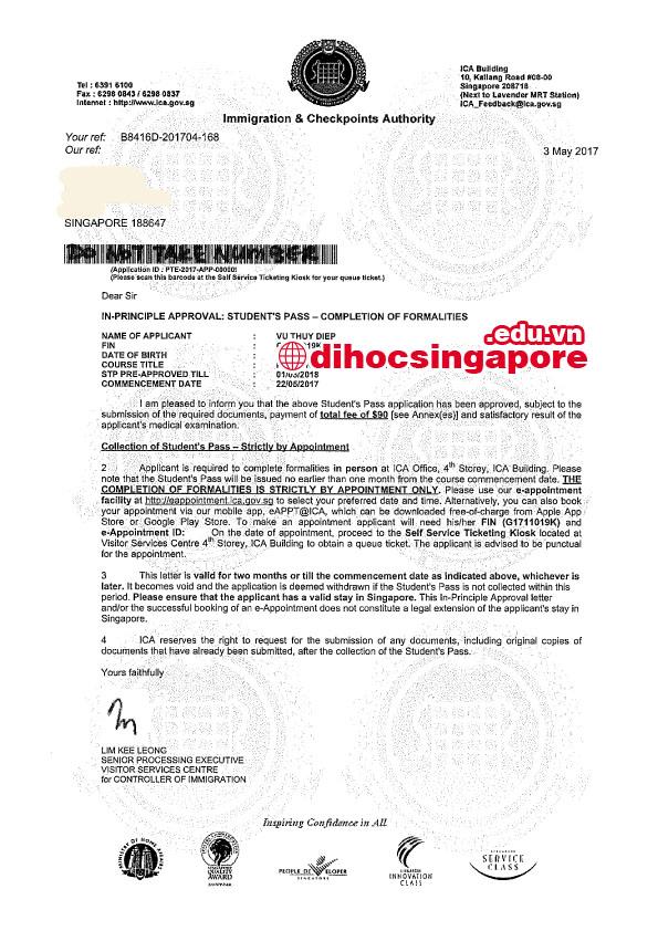Chúc mừng bạn Vũ Thúy Điệp nhận được visa du học Singapore cùng Du học Việt Phương